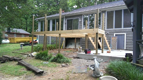 Construction phase of deck off bonus room