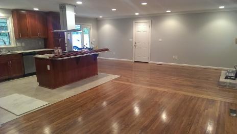 Finished hardwood and tile flooring
