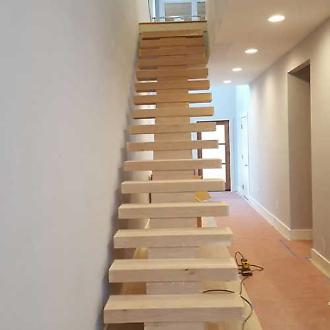 Floating Stairway before Staining